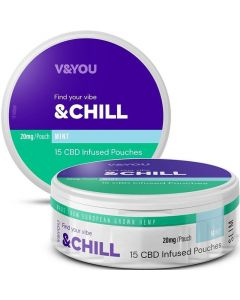 V&YOU 20mg chill mint CBD infused pouches 15 pack