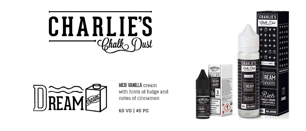 Image of a 10ml and 50ml shortfill eliquid bottle from Charlie's Chalk Dust accompanied by the companies logo and a short description of the flavour: Rich vanilla cream with hints of fudge and notes of cinnamon, 60VG 40PG.