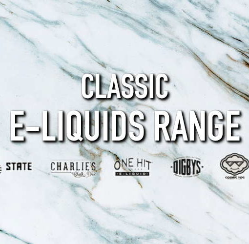 Image of title 'Classic E-Liquids Range' and Liquid State, Charlies Chalk Dust, One Hit Wonder, Digbys, Cosmic Fog and Suicide Bunny eliquid logos beneath, on a marble background.