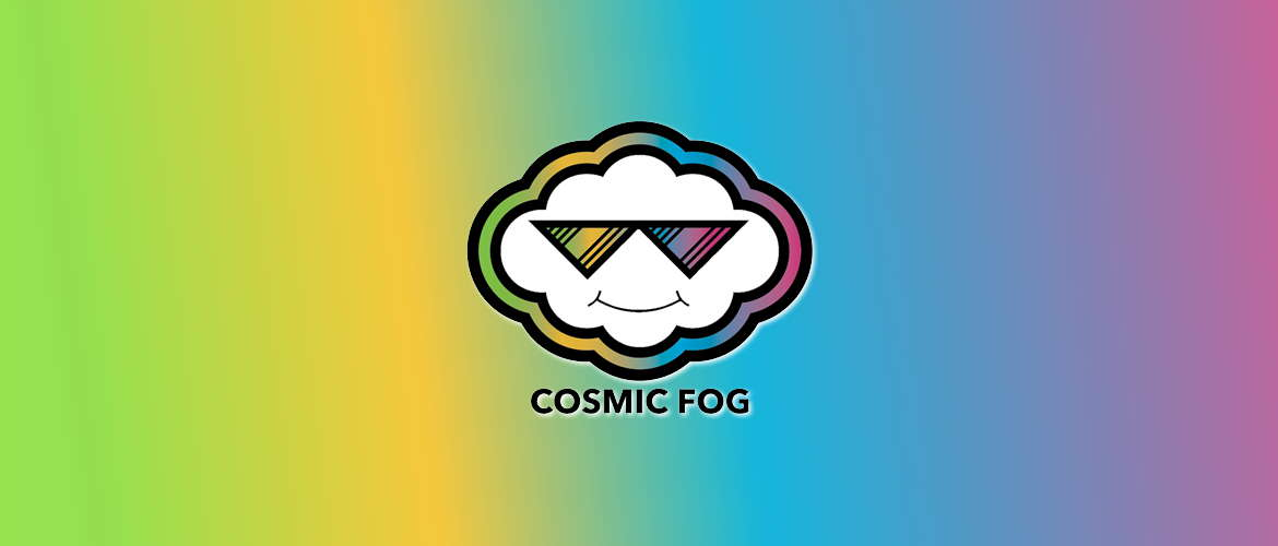 Image of the Cosmic Fog e-liquid logo on a rainbow background