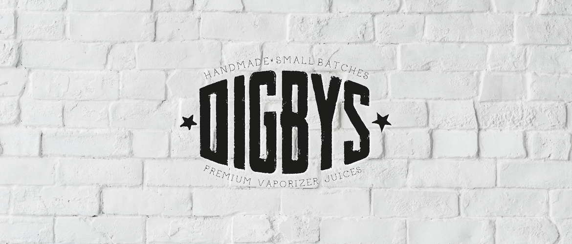 image of Digbys eliquid logo on a white brick wall background