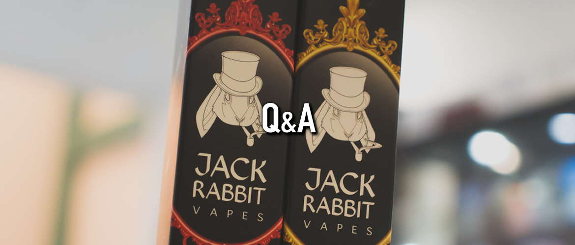 Image of jack rabbit vapes eliquid packaging, black tall boxes with Jack Rabbit logos