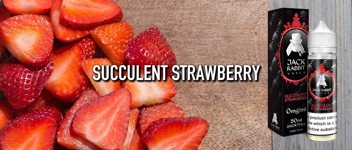 Image of strawberries on a chopping board, next to a bottle of Jack Rabbit Succulent Strawberry eliquid