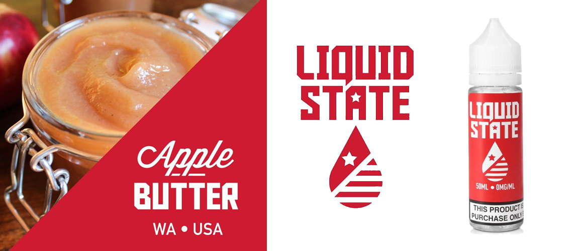 Image of the Liquid State e-liquid logo next to an image of the 50ml shortfill bottle available at Evapo stores and online.