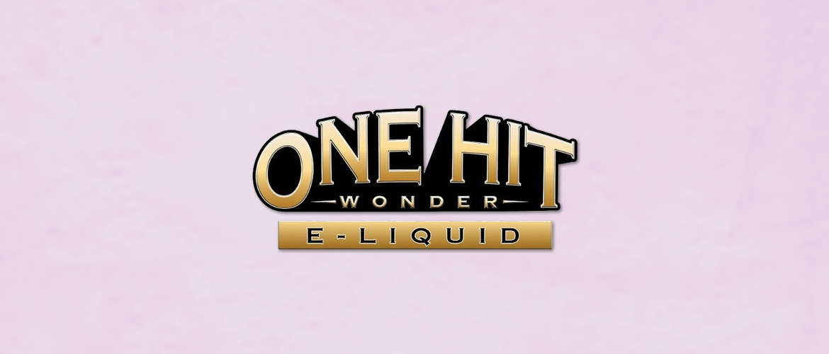 Image of the One Hit Wonder E-liquid logo on a pale-pink background.
