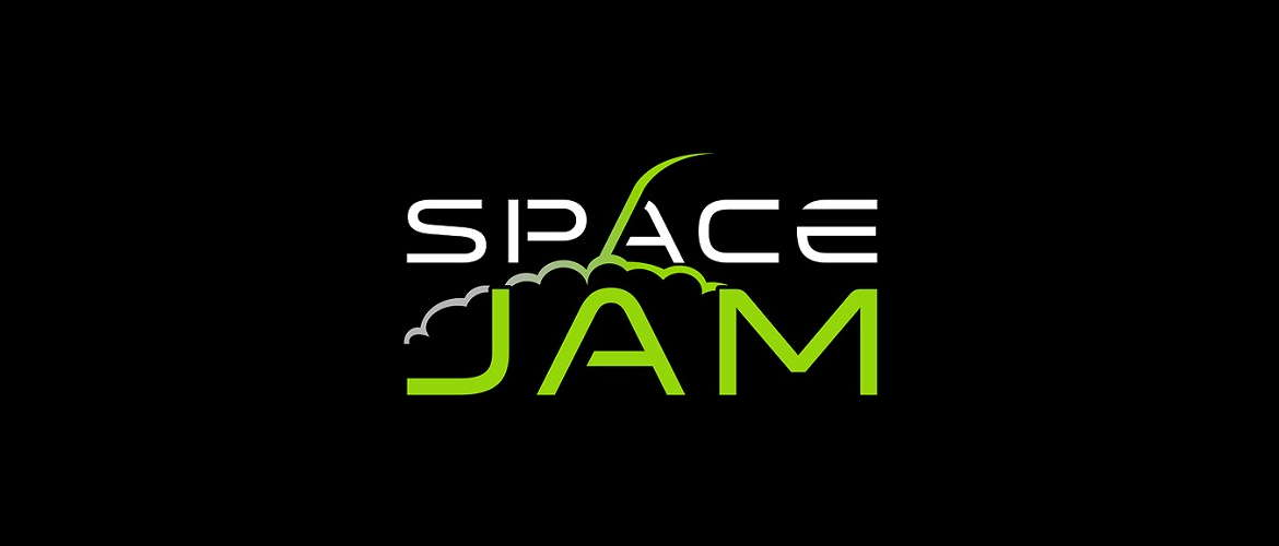 image of the Space Jam e-liquid logo on a black background