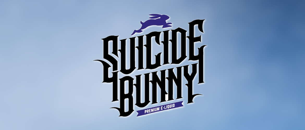 Image of the Suicide Bunny E-liquid logo on a pale blue background.
