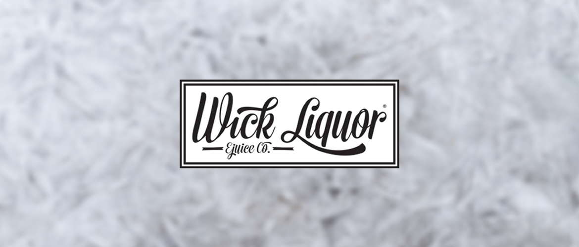 Image of the Wick Liquor ejuice company logo on a blurry white/grey background