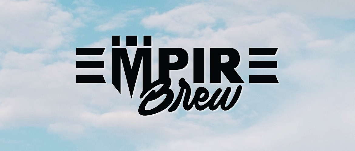 Image of the Empire Brew eliquid logo on a background of clouds
