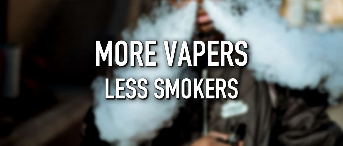 Image of someone vaping with the title More Vapers Less Smokers