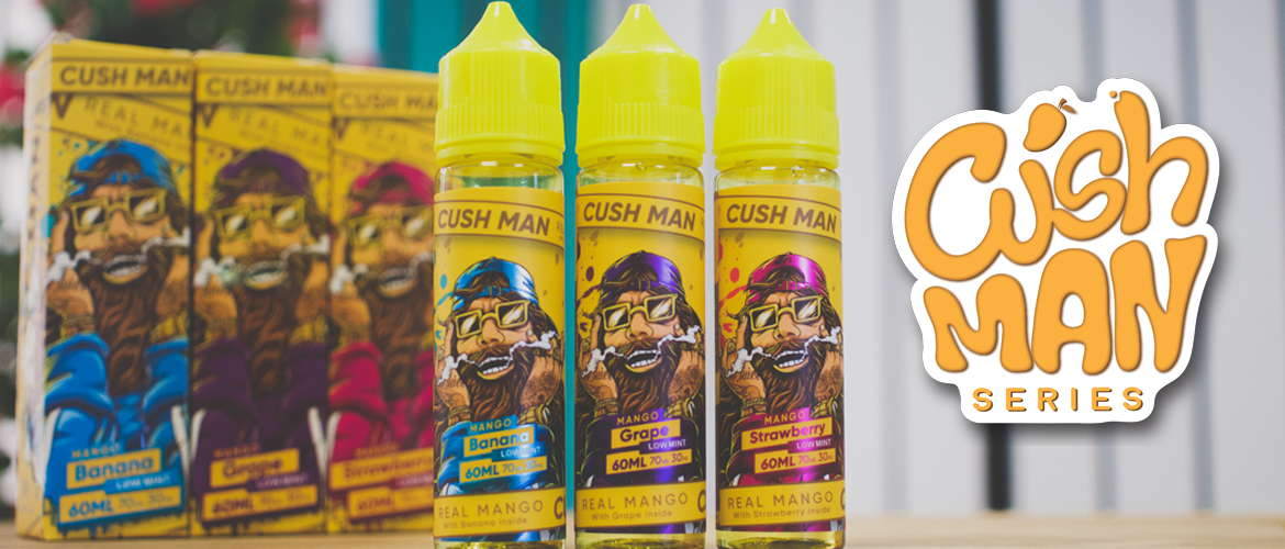 Image of the new eliquid Cush Man series