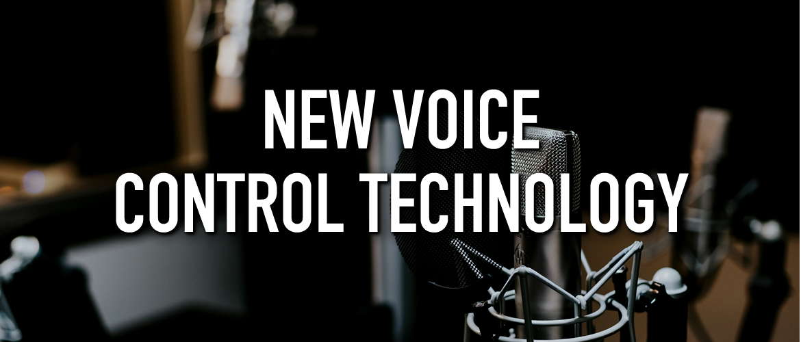 Image of a microphone with the title New Voice Control Technology