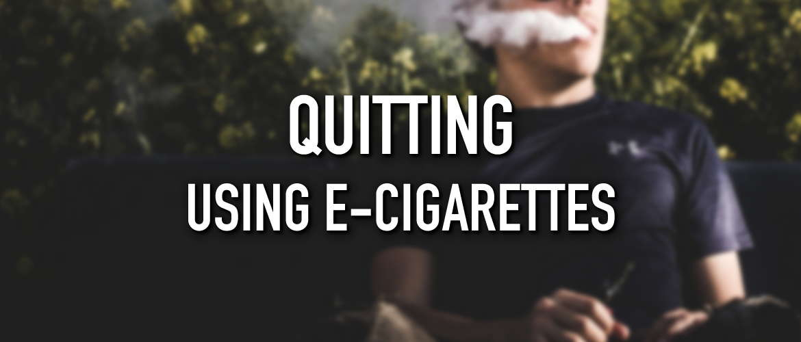 Image of someone vaping on a bench with the title Quitting using E-Cigarettes