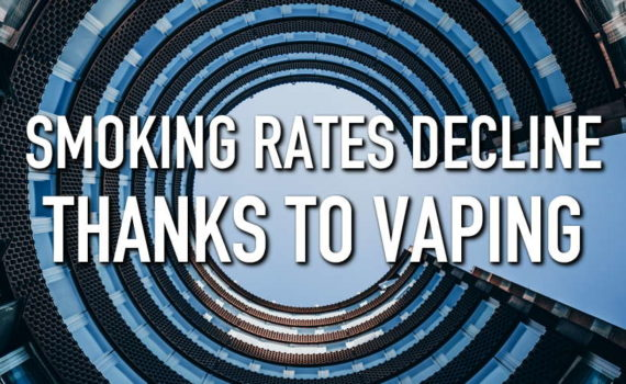 Image of a building with the title Smoking Rates Decline Thanks to Vaping