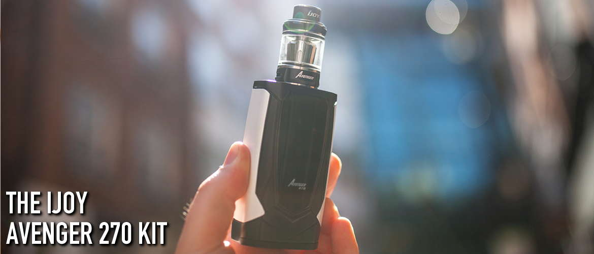 An image of the new iJoy Avenger 270 Kit being held by a hand with a blurry background.