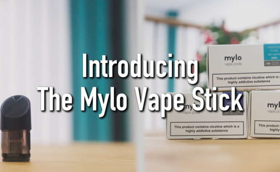 the mylo vape stick next to several boxs of flavour pods