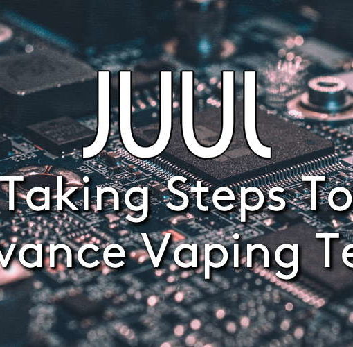 the JUUL logo on a PCB computer board background