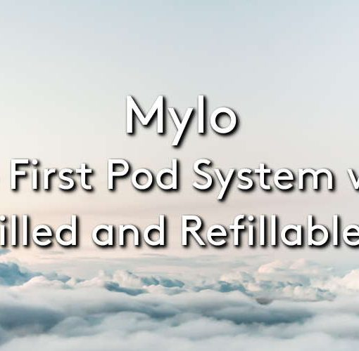 The Mylo vape stick vape device and pods on a cloudy background