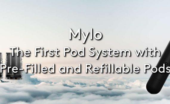 The Mylo vape stick vape device and pods on a cloudy background