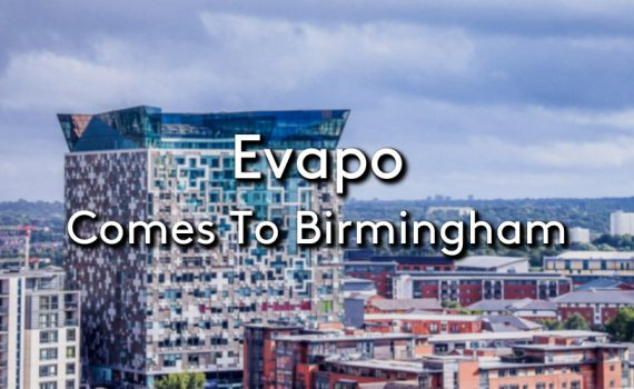 A city view of Birmingham with the title Evapo Comes to Birmingham