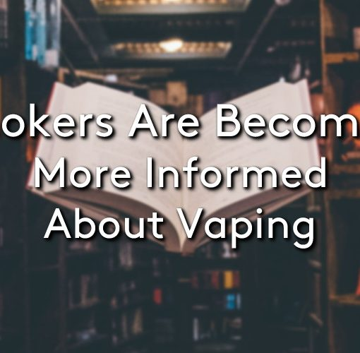 A floating book in a book shop with the title 'Smokers are becoming more informed about vaping'