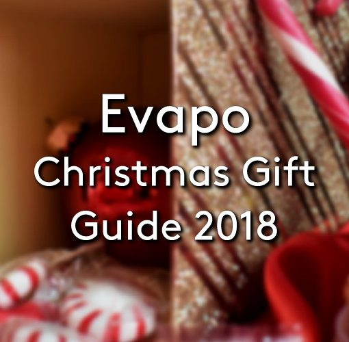 A range of different christmas items such as baubles, candy canes, ribbons and more with the title Evapo's Christ Gift Guide 2018