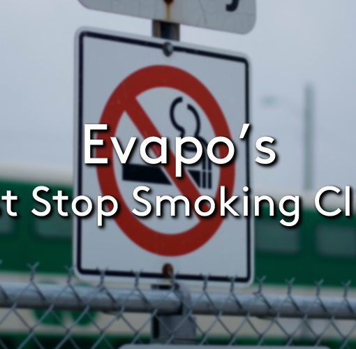 A stop smoking sign with the title Evapo's first stop smoking clinic