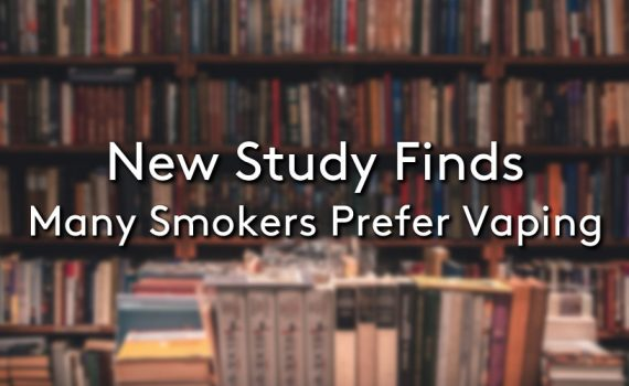 A background of a library with the title New Study Finds Many Smokers Prefer Vaping