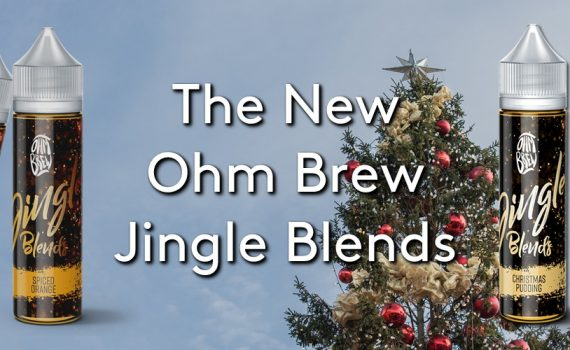 The new Ohm Brew Jingle Blends e-liquid range, now available from Evapo.co.uk on a Christmas tree background
