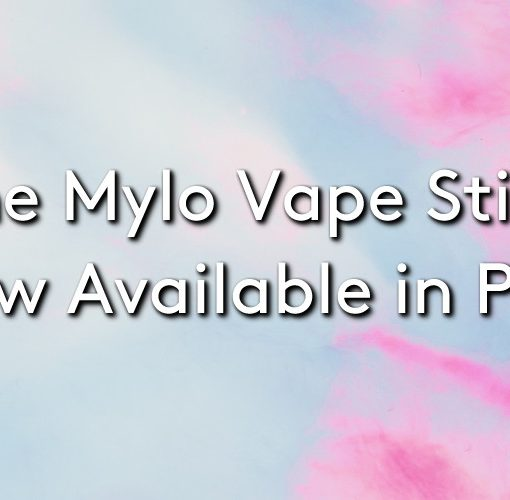 The Mylo vape stick in pink on a cloudy pink background