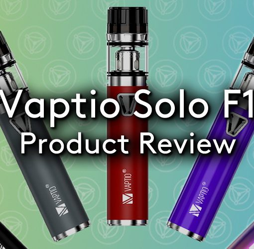 The Vaptio Solo F1 Vape kit in all available colours on a hue background