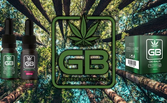 George Botanicals CBD logo on a forest background, featuring George Botanicals products side by side