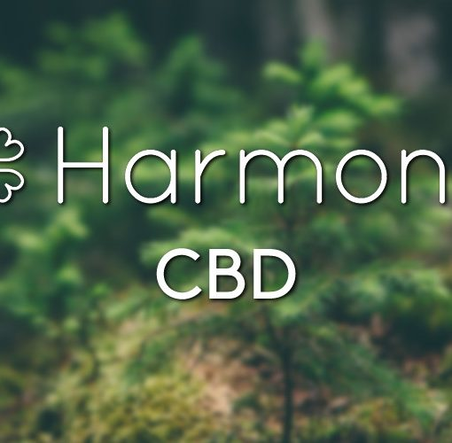 The Harmony CBD range logo on a nature background