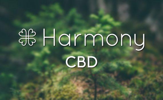 The Harmony CBD range logo on a nature background