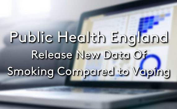 Image of a blurry laptop showing graphs and statistics with the title: Public Health England Release New Data Of Smoking Compared To Vaping