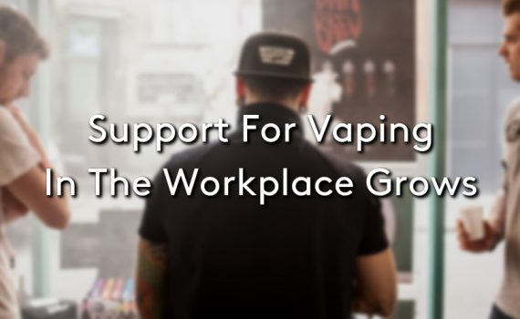 Three people vaping in the workplace with the title: Support for Vaping In The Workplace Grows