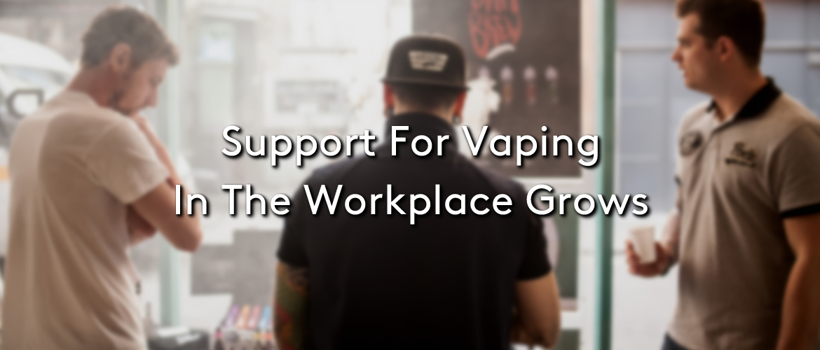 Three people vaping within a workplace with the title: Support For Vaping In The Workplace Grows