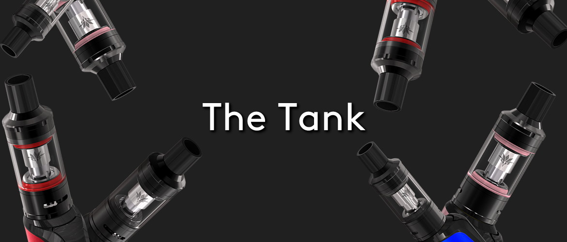 The Vaptio Cosmo vape kit device and tank on a black background with the title; The Tank