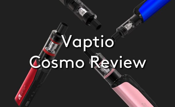 The Vaptio Cosmo vape kit on a black background, with the title: Vaptio Cosmo Review
