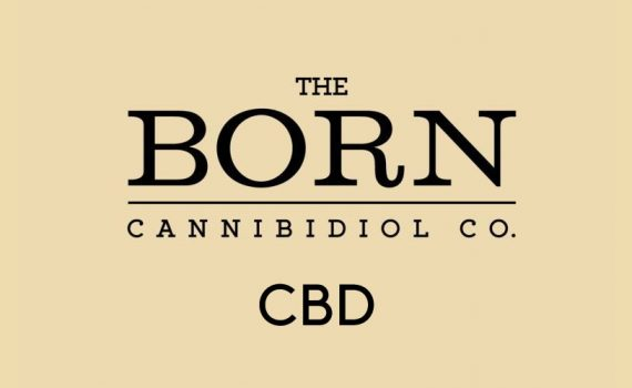 The Born CBD logo on a beige background