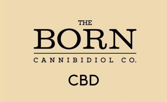 The Born CBD logo on a beige background