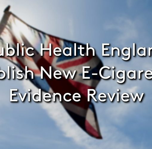 The Union Jack flag, blowing in the wind, with the title: Public health England publish new e-cigarette evidence review