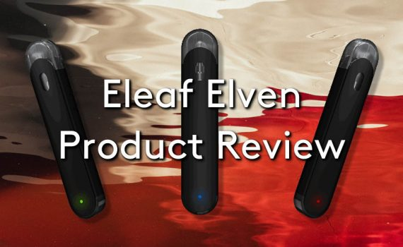Three of the Eleaf Elven vaping pod system vape kits on a red and white blurry watery background