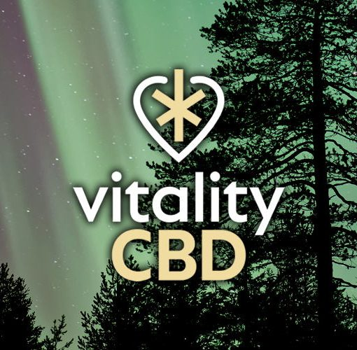 The Vitality CBD logo on a dark forest background