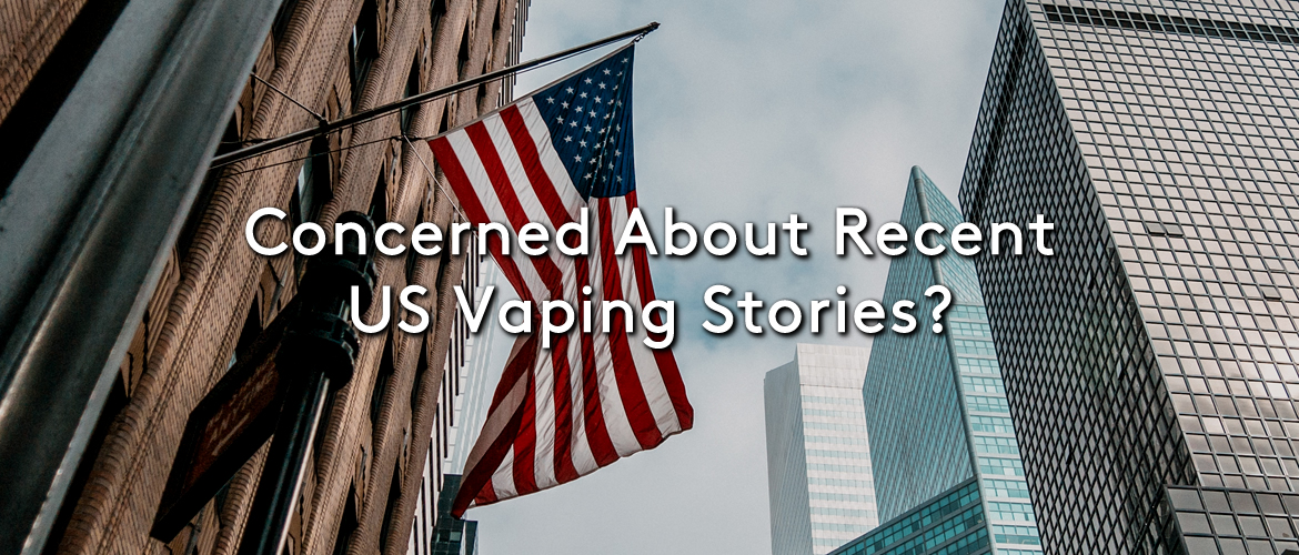 Flag of the USA hanging off a building in America with the title Concerned About Recent US Vaping Stories?